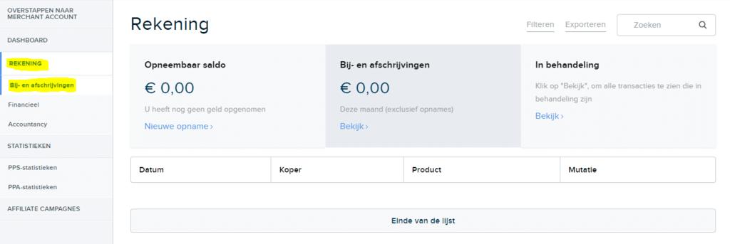 Rekening PayPro