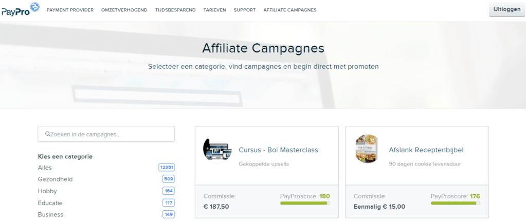 aanmelden als affiliate bij paypro