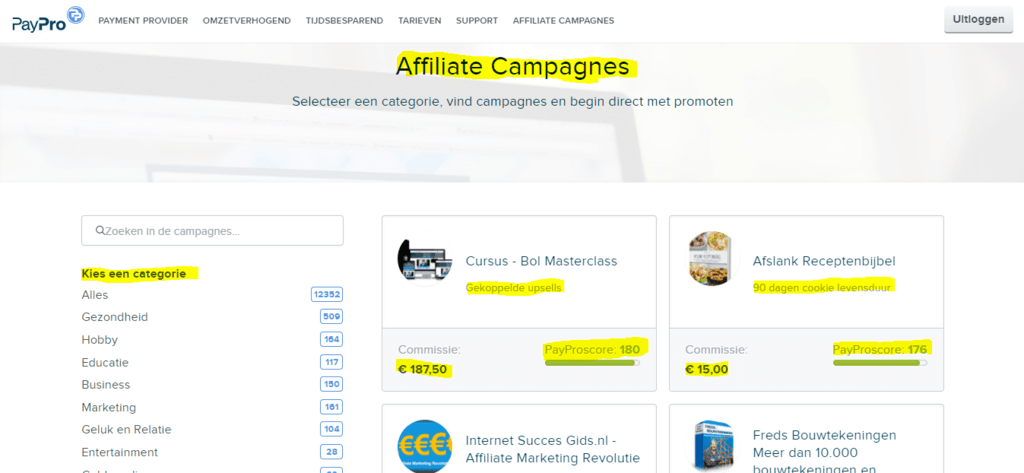 Affiliate Campagnes paypro