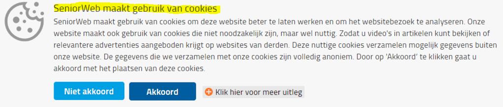 Cookies accepteren voorbeeld