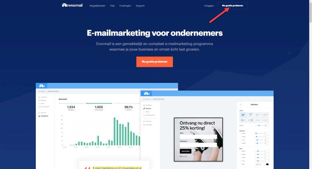 Stap #1: Meld Je Aan Bij Enormail beginnen met e-mail marketing