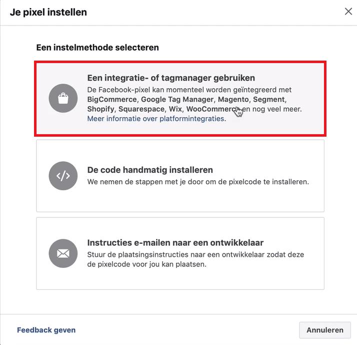 facebook pixel integratie