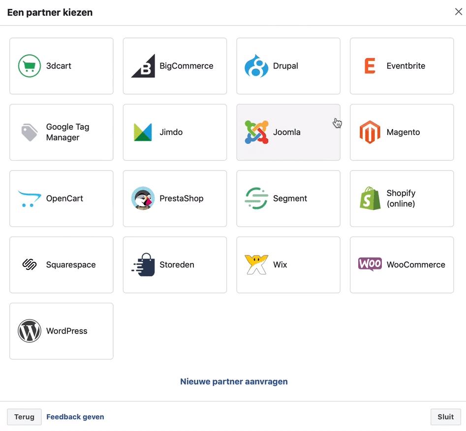 facebook pixel partner integratie